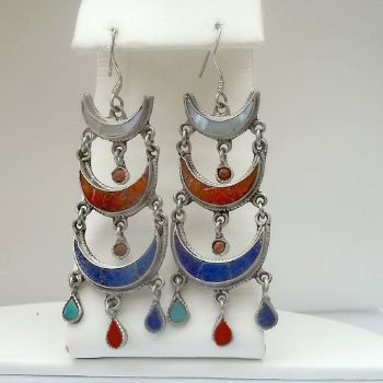 Traditional Half Crescent Lapis, Shell, Coral Danglies